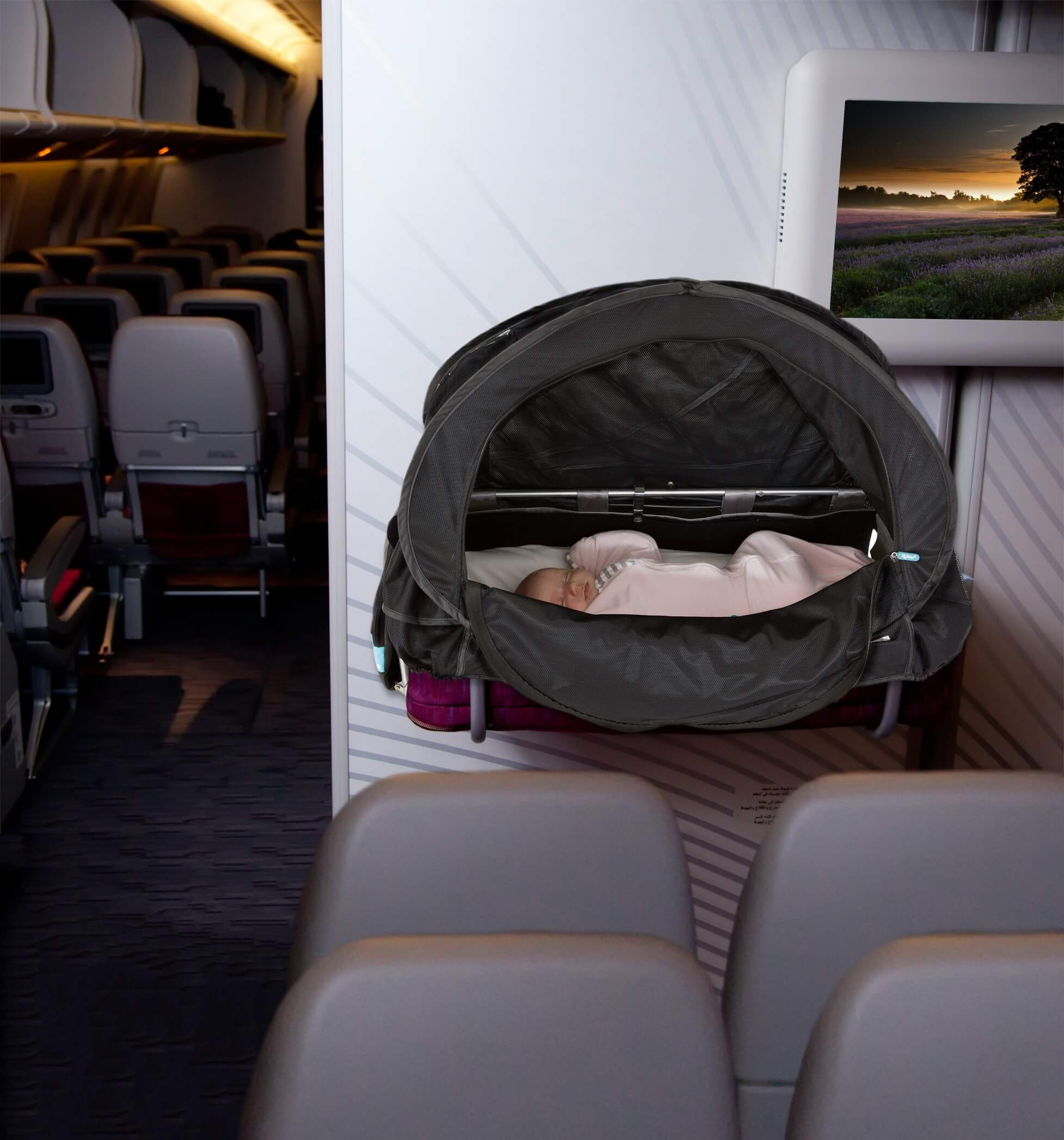Baby bed airplane - Fly Baybee Bassinet Cover Your Ultimate Guide To Airline Baby Bassinets Travel Advice