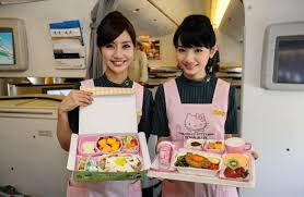 Meal service on board Hello Kitty Jet | Family Friendly Airline Review EVA Air | OurGlobetrotters.Net