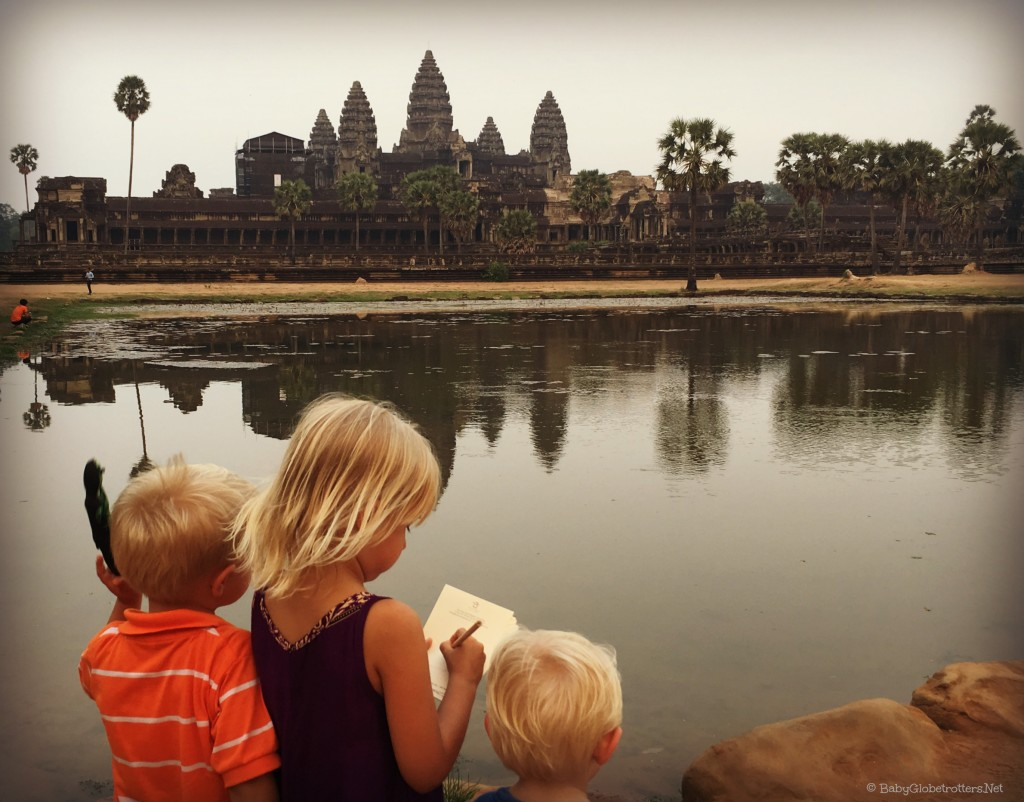 Children love drawing their adventures; Leap & Hop books are ideal for the curious minded child while travelling | Angkor Wat Cambodia | OurGlobetrotters.Net