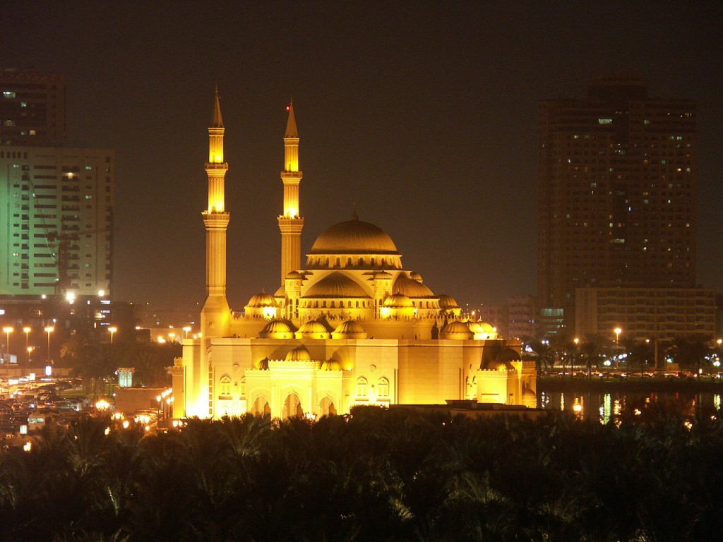 Night mosque in Sharjah UAE | Sharjah with Kids | Explore My City | OurGlobetrotters.Net