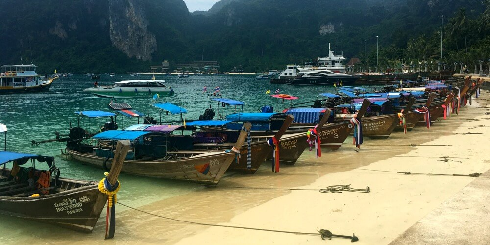 Phi Phi Islands Tonsai Bay long boats