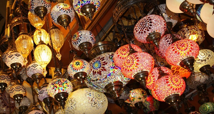 Colourful lights in the Grand Bazaar Istanbul