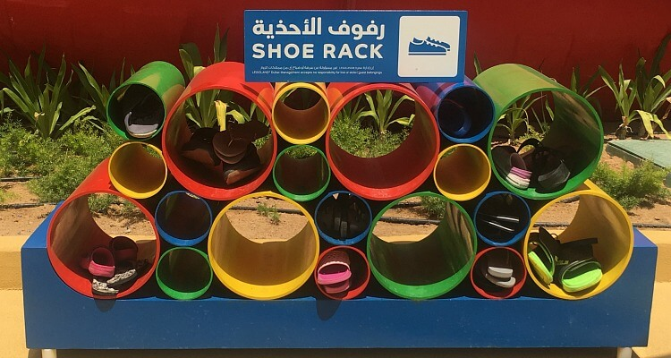 Legoland Water Park Dubai family review - shoe racks