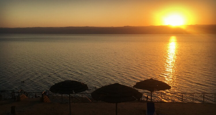 Dead Sea at sunset from Mövenpick Resort & Spa