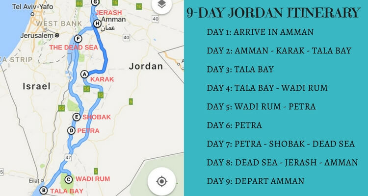 Jordan Itinerary for a 9 day road trip with kids