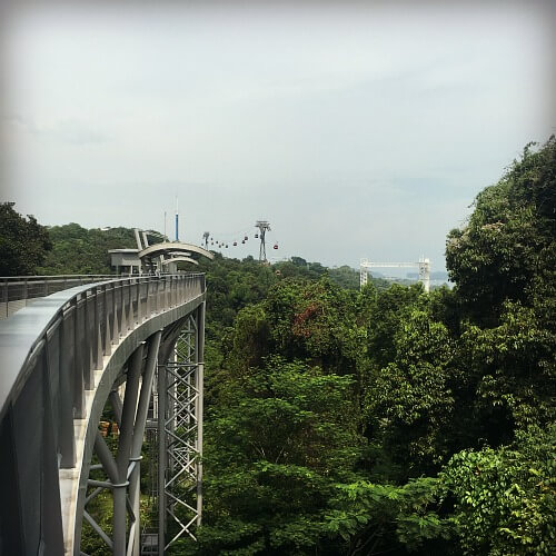 View from Fort Siloso of the cable car and zip line on Sentosa