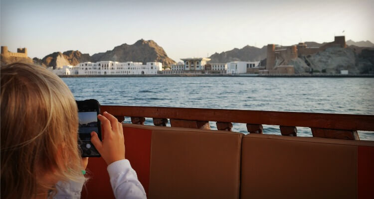 Places to visit in Muscat with Kids | Boat Tour of Muscat Harbour at Sunset Al Alam Palace