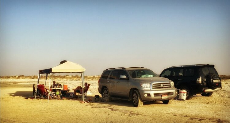 Desert camping in the UAE with a gazebo