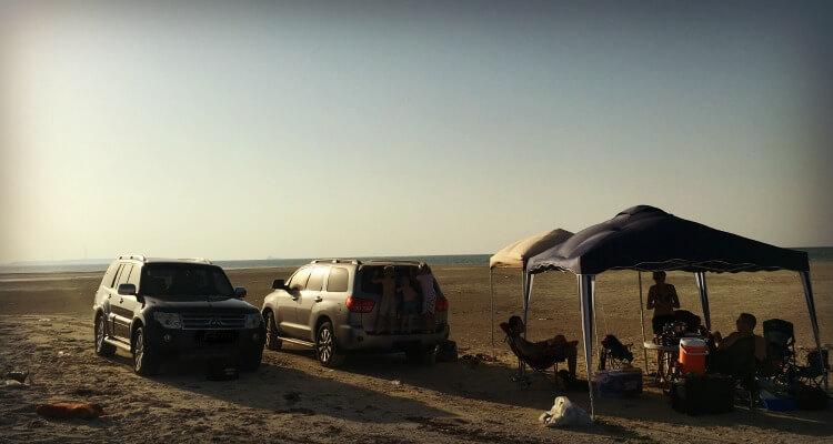 Beach camping in the western region of Abu Dhabi