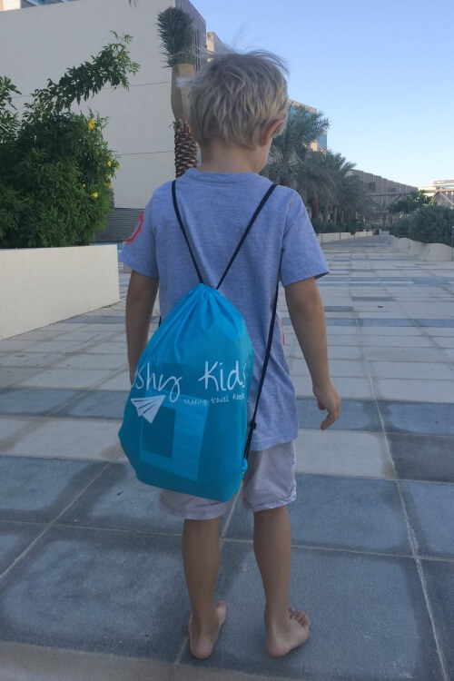 Kooshy Kids backpack for carrying your inflatable pillow