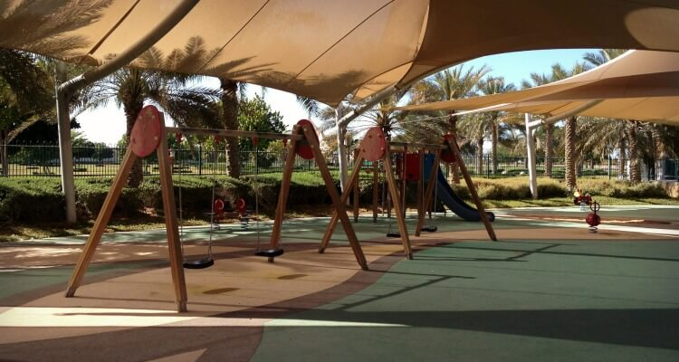 Yas Gateway Park on Yas Island Abu Dhabi a great open space and playground area off island | Our Globetrotters Family Travel & Expat Blog